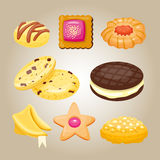 Different cookie homemade breakfast bake cakes  and tasty snack biscuit pastry delicious sweet dessert bakery. Eating vector illustration. Gourmet indulgence Stock Photos
