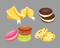 Different cookie homemade breakfast bake cakes  and tasty snack biscuit pastry delicious sweet dessert bakery. Eating vector illustration. Gourmet indulgence Stock Photo