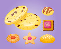 Different cookie homemade breakfast bake cakes  and tasty snack biscuit pastry delicious sweet dessert bakery. Eating vector illustration. Gourmet indulgence Royalty Free Stock Image
