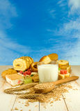 Different cookies, wheat and glass of milk Royalty Free Stock Photos