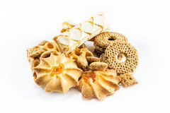 Different cookies on the white. Background royalty free stock photos