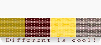 Different is cool!. Long wall made with different bricks vector illustration