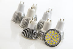 Different cooling SMD chips on LED bulbs. With GU10 base Stock Images