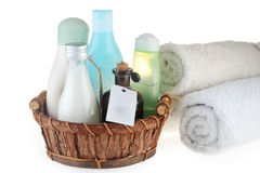 Different cosmetic  for  body  in basket Royalty Free Stock Photos