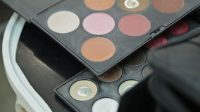 Different cosmetic brushes for makeup stock video footage