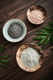 Different cosmetic clay. In coconut bowl on wooden background top view Royalty Free Stock Photography