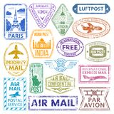 Different countries air plane post stamp delivery mail postmark illustration. Air plane postcard retro badge Royalty Free Stock Photos