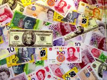 Different countries paper money picture Royalty Free Stock Images