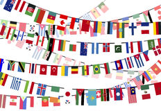 Different countries flags on the ropes Stock Photo