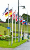 Different countries flags. Flags of different countries on the street Lappeenranta at ssummer, Russia Royalty Free Stock Photo
