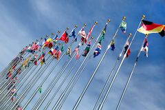 Different countries flags united together Royalty Free Stock Photography