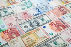 Different countries paper money. Background from paper money of the different countries Stock Photos