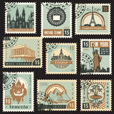Different countries. Set of stamps from different countries with architectural landmarks Royalty Free Stock Photos