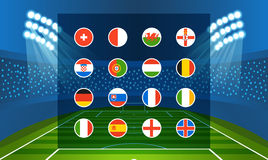 Different country flags collection. Football infographic Stock Photos