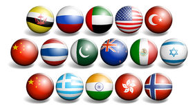 Different country flags on round ball Royalty Free Stock Photo