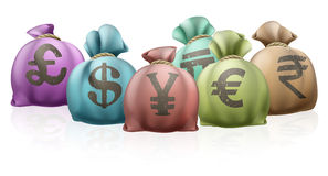 Different country money bags Stock Images