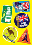 Different Country Travel Icon Set. United Stated, Europe & Australia Country Travel Icon Set Stock Image