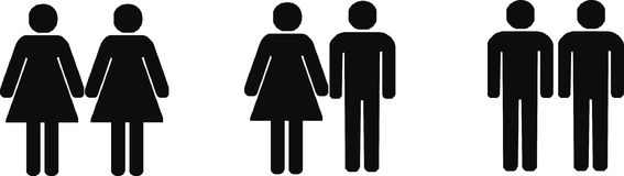 Different couples. Heterosexual, lesbian and gay couples - isolated vector illustration vector illustration