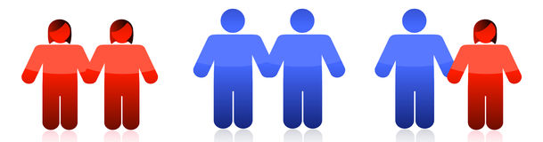 Different couples. Illustration design over a white background Royalty Free Stock Photography