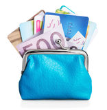 Different credit cards and euro banknotes in purse Royalty Free Stock Images