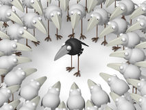 Different crow. Black crow surrounded by white crows Stock Images