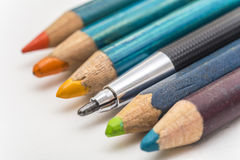 Different From Crowd. Extreme Closeup Of An Architecture Drawing Pencil (Focus On Tip) Standing Out From A Row Of Coloring Pencils Royalty Free Stock Photo