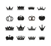 Different crowns silhouettes collection Royalty Free Stock Image