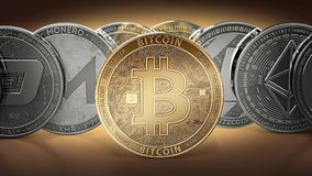Different cryptocurrencies and a golden bitcoin standing in the middle as the most important cryptocurrency. Different cryptocurre. Ncies concept. 3D Royalty Free Stock Photography