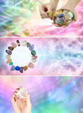 3 different crystal healing banners stock images