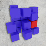 Different cubes. 3d rendering of a background with some blue cubes and one red cube Royalty Free Stock Images