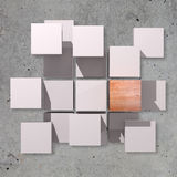 Different cubes. 3d rendering of a background with some white cubes and one stone cube Royalty Free Stock Photography