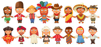 Different culture standing together holding hands stock illustration
