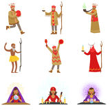 Different Cultures Shamans And Gypsy Fortune-Tellers Set Of Cartoon Characters Performing Occult Rituals Stock Photo