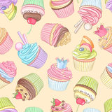 Different cupcakes seamless pattern. Vector illustration. Cute colorful cupcakes seamless pattern on neutral background. Vector illustration Royalty Free Stock Photos