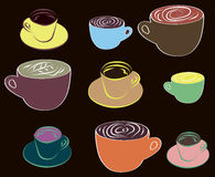 Different cups of coffee Stock Images