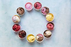 Different cups of ice cream flavors set in circle shape stock images