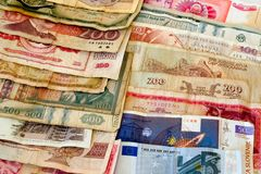 Different currencies. Different money in two rows Royalty Free Stock Images