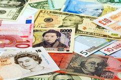 Different currencies Stock Photos