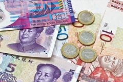 Different currencies background Stock Photo