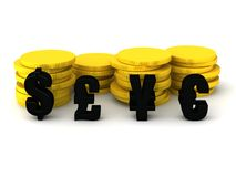 Different currencies dollar pound yen and euro Royalty Free Stock Photography