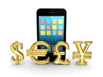 Different currencies and mobile phone. Stock Photography