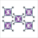 Different currencies Stock Images