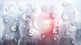 Different currencies on a virtual screen. SNB. Swiss National Bank.  royalty free illustration