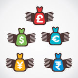 Different currency bag fly symbol.  Stock Photography