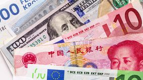Different currency banknotes, including euros, Chinese yuan and one hundred US dollars, close up shot, top view panning. Backgroun stock video footage