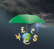 Different currency symbols under the umbrella. Royalty Free Stock Images