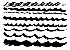 Different curved dry vector brush strokes Stock Images