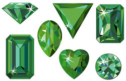 Different cut emeralds. Vector illustration of different cut emeralds isolated on white Royalty Free Stock Image