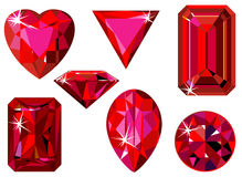 Different cut ruby. Vector illustration of different cut rubies isolated on white Stock Photos