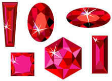 Different cut ruby. Vector illustration of different cut rubies isolated on white Stock Image